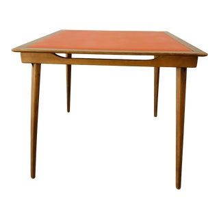 Mid Century Modern Stakmore Orange Walnut Folding Table For Sale
