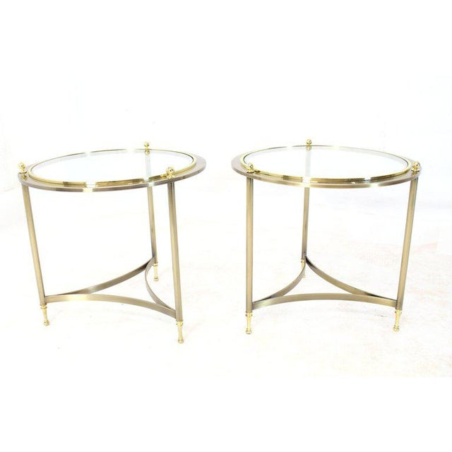 Superb Pair Of Round Side End Tables With Glass Tops By Dia Decaso