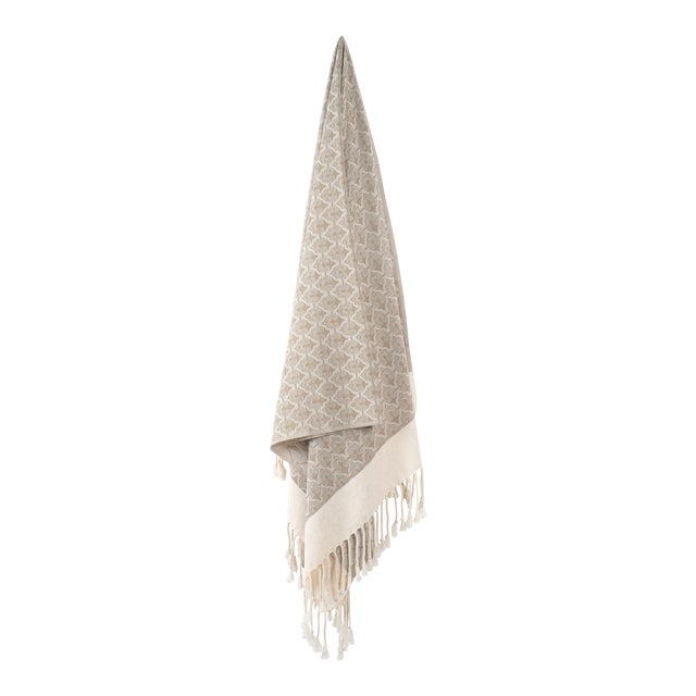 Mute Eloquence Handmade Organic Cotton Towel in Beige For Sale