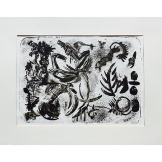 """""""Garden Plants"""" Contemporary Abstract Black and White Lithograph by Martha Holden For Sale"""