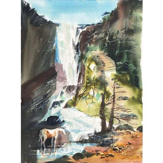 'Pony Drinking Beneath a Waterfall' by Laurence Sisson, American Watercolor Society For Sale