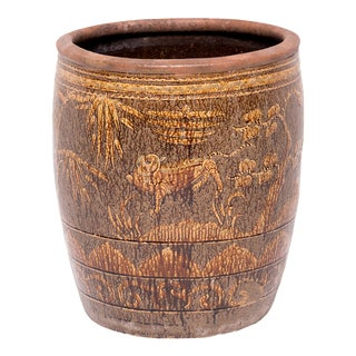 Chinese Fu Dog and Pine Tree Pickling Jar For Sale