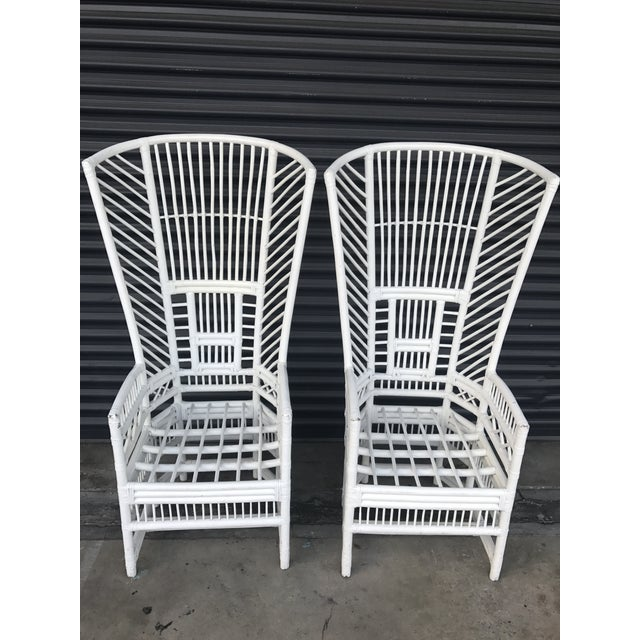 Vintage Rattan High Back Chairs - a Pair - Image 6 of 11