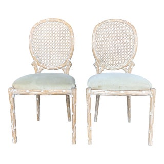 Vintage Faux Bois Chairs- a Pair For Sale