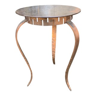 Heavy Hammered Copper Side Table For Sale