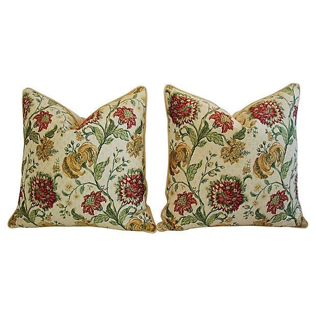 "Scalamandre Custom Scalamandre Floral Brocade Feather/Down Pillows 24"" Square - Pair For Sale - Image 4 of 14"