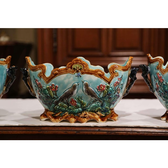 Late 19th Century 19th Century French Hand Painted Barbotine Cachepots With Bird and Flower Decor For Sale - Image 5 of 13