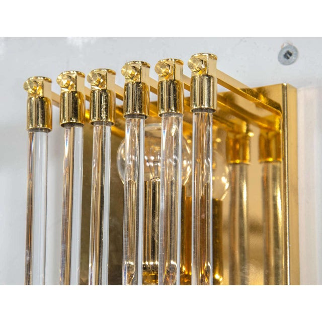 Pair of Mid-Century Modernist Brass and Glass Rod Sconces For Sale - Image 4 of 5