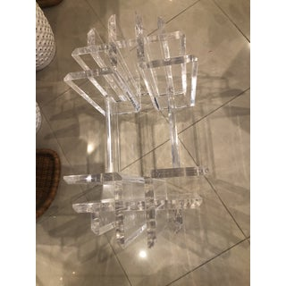 Vintage Hollywood Regency Lucite Geometric Coffee Cocktail Table Preview