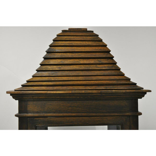 Vintage Chinoiserie Pagoda Top Wooden Curio Display Cabinet Beehive Ming Legs For Sale - Image 4 of 11