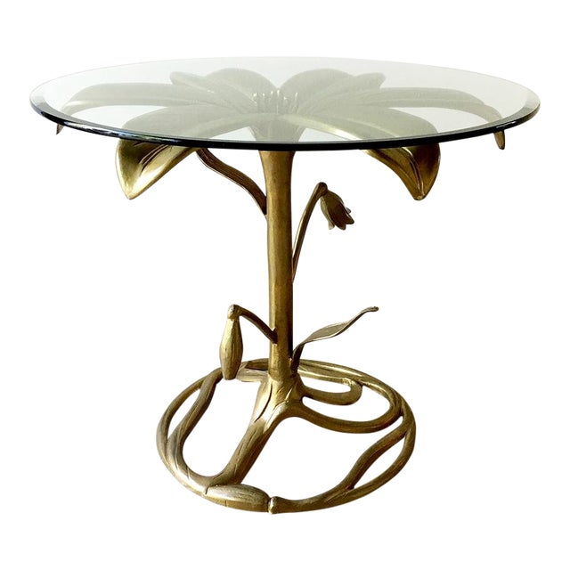 An Arthur Court Gilded Centre Table With Glass Top 1960s For Sale