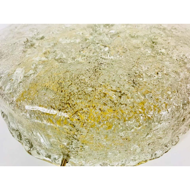 Hillebrand Midcentury Round Ice Glass Flush Mount by Hillebrand, 1960s For Sale - Image 4 of 9