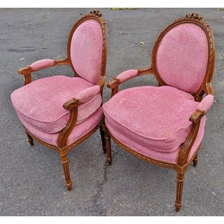 Early 20th Century Antique French Pink Upholstered Carved Bergere Armchairs - a Pair Preview