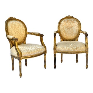 Exceptional Louis XVI Style Gilt Fauteuils Armchairs - a Pair For Sale