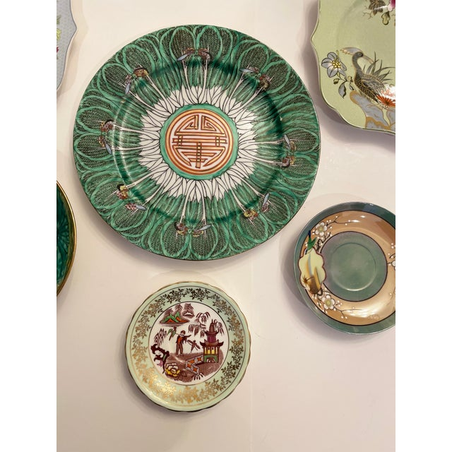 Green Asian Mixed Decorative Plates- a Set of 6 For Sale - Image 4 of 8