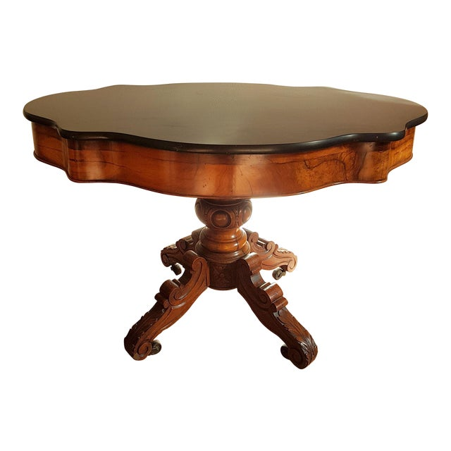 Antique Walnut and Black Marble Top Table, France 1890s For Sale