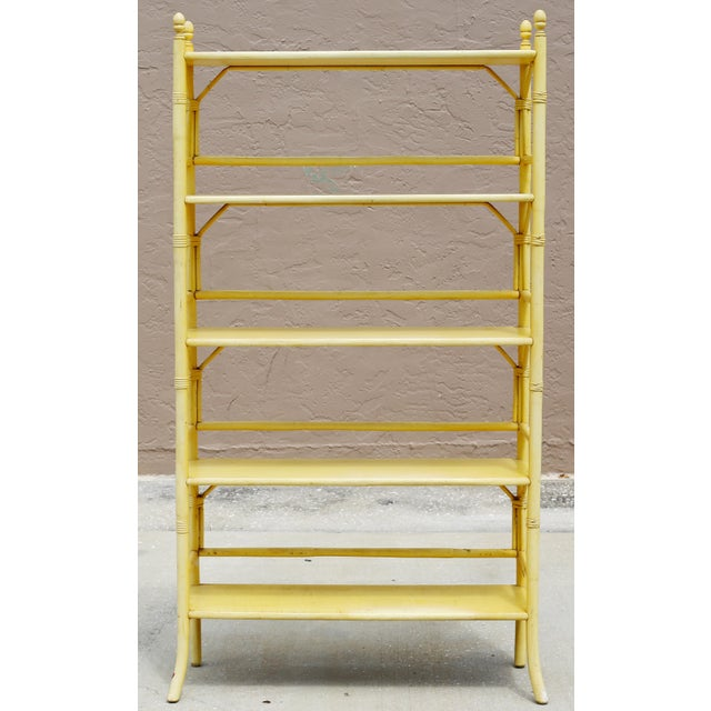 Vintage Yellow Rattan Etagere - Heavy For Sale - Image 4 of 12