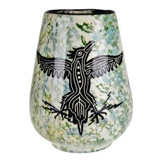 Vintage Hand Made Native American Phoenix & Rattlesnake Glazed Ceramic Pottery Vase For Sale