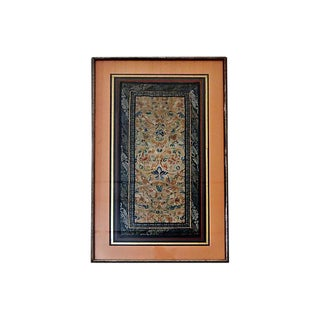 19th-C. Framed Embroidered Silk Panel For Sale