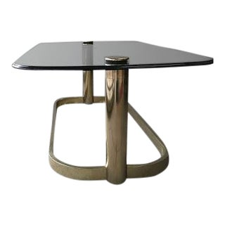 1980s Mid-Century Modern Oval Brass Coffee Table For Sale
