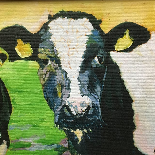 Wonderful original painting of cows on canvas in beautiful gold frame.