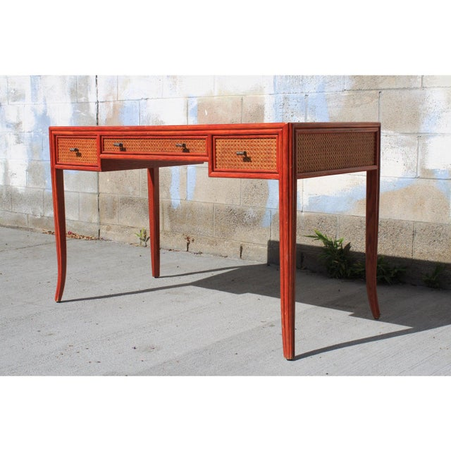 Boho Chic Vintage Barbara Barry for McGuire Leather Top Desk For Sale - Image 3 of 13