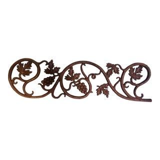 Late 19th Century Cast Iron Grape Motif Architectural Salvage Railing Segment For Sale