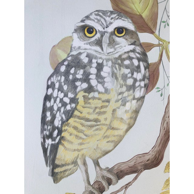 """Chinoiserie """"Owl You Need Is Love"""" Botanical Bird Painting by Allison Cosmos For Sale - Image 3 of 8"""