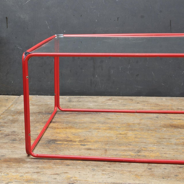 Retro Pool House Cube Table Low Red Tubular Vintage Midcentury Minimal Baughman For Sale - Image 4 of 6