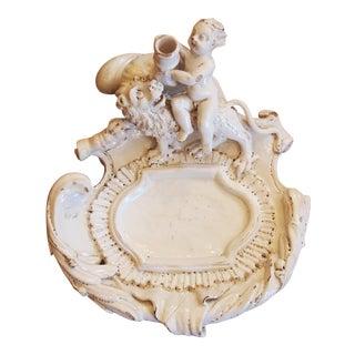 18th Century Continental White Faience Inkstand with a Putto and Lion For Sale