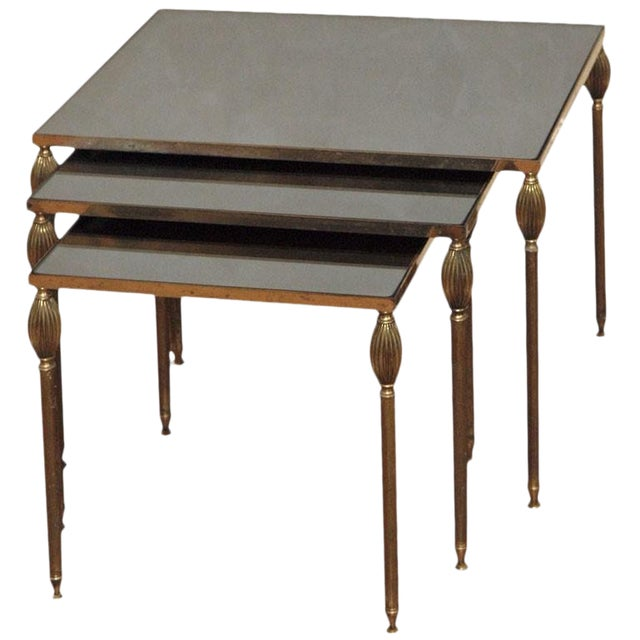 Mid-Century Set of 3 Nesting Tables With Smoked Glass For Sale