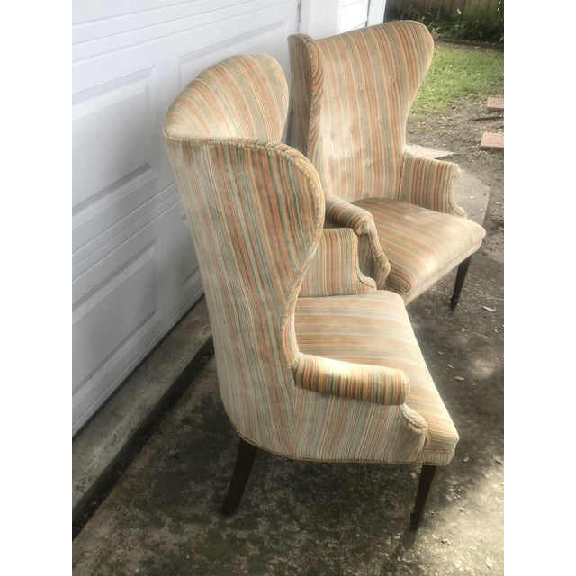 Mid-Century Modern Rainbow Velveteen Wingback Chairs - a Pair For Sale - Image 4 of 13