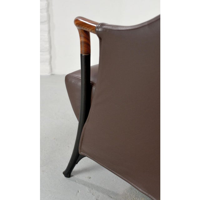 Animal Skin Mid-Century Modern Italian Design Seal Brown Leather Lounge Chair 'Progetti' by Giorgetti, 1980s For Sale - Image 7 of 13