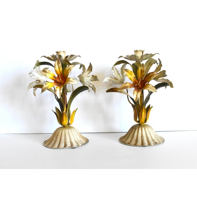 Vintage Italian Tole Lilies Flowers Painted Tole Candle Holders - a Pair For Sale - Image 4 of 10