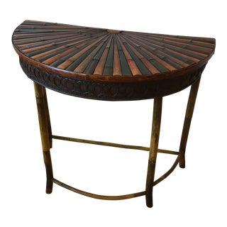 20th Century Boho Chic Wooden Detailed Demi-Lune Table For Sale