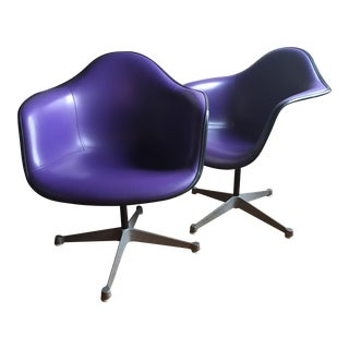 Eames for Herman Miller Purple Upholstered Shell Chairs - a Pair