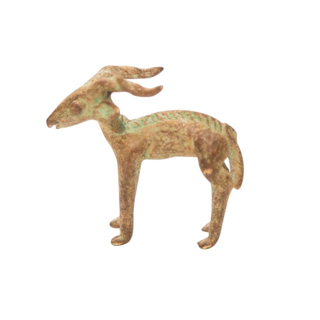 Vintage Oxidized Impala Ram Bronze Gold Weight For Sale
