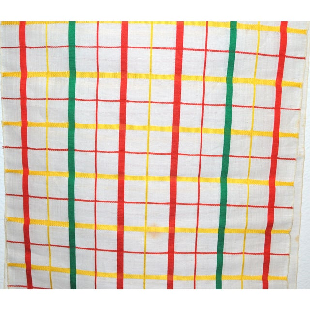 1960s White, Red & Green Japanese Linen Kimono Obi Cheques Antique For Sale - Image 5 of 10