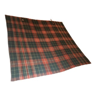 20th Century Cottage Early Equestrian Plaid Wool Horse Blanket For Sale