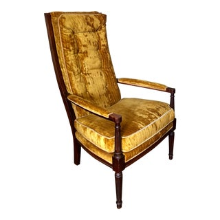 Mid Century Vintage Yellow Velvet High Back Arm Chair For Sale