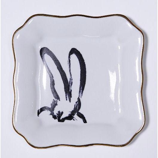 Ceramic Hunt Slonem Bunny Portrait Plates - Set of 2 For Sale - Image 7 of 7