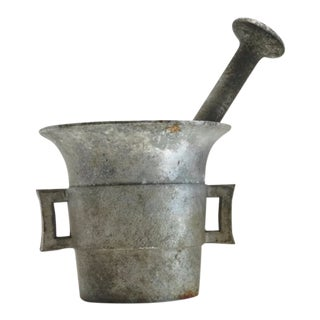 Vintage Mortar and Pestle, Aluminum C. 1940s For Sale