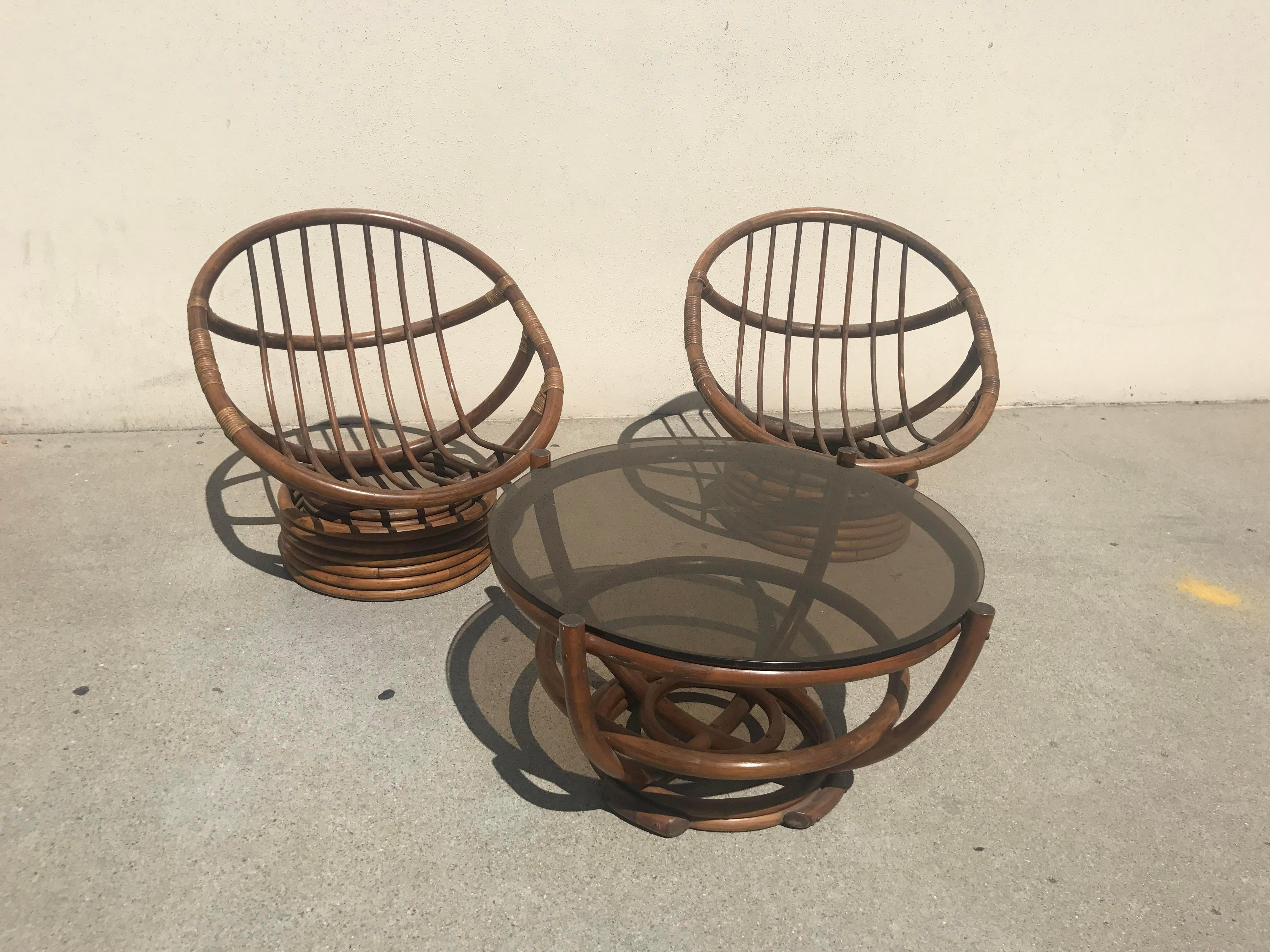 Vintage 60s Rattan Papasan Swivel Rocking Chairs U0026 Table   Set Of 3   Image  2