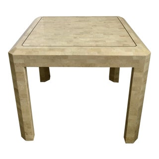 1970s Hollywood Regency Maitland Smith Tessellated Fossil Stone Square Side Table For Sale