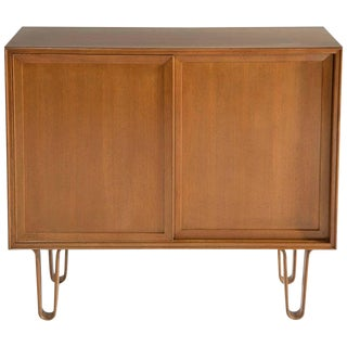Edward Wormley for Dunbar Sliding Door Cabinet on Hairpin Legs, 1950's For Sale
