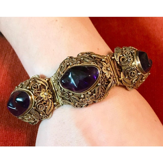 Asian 1940s Chinese Gold-Plated Sterling Silver Amethyst Bracelet For Sale - Image 3 of 6