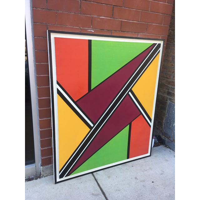 """Mid 20th Century Vintage Mid-Century """"Intersection #3"""" Oil & Acrylic Painting For Sale - Image 5 of 9"""
