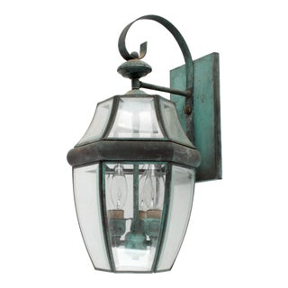 Naturally Aged Brass Outdoor Carriage Wall Lantern