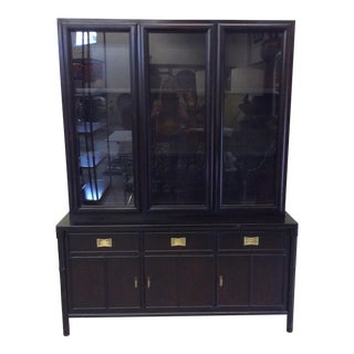 Century Black Lacquer Asian Style China Cabinet.