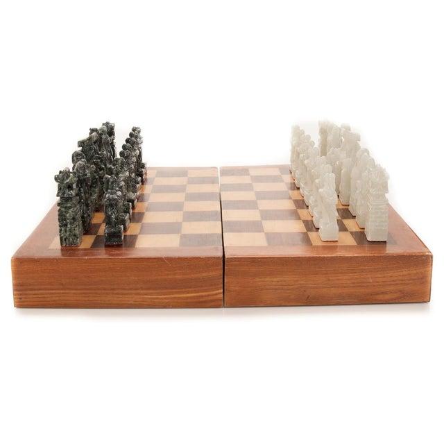 Chinese Green & White Jade Soap Stone Chess Set - Image 1 of 8